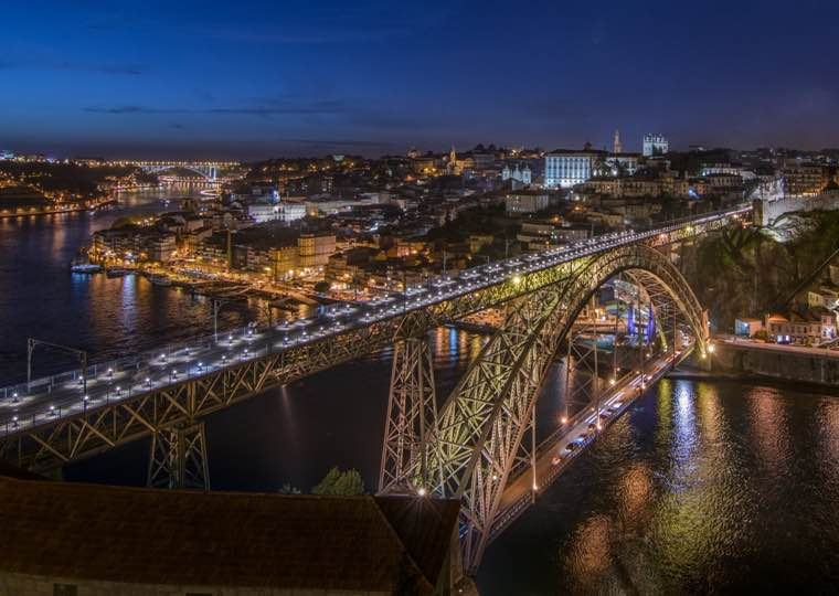 Dom Luis Bridge lights in Porto