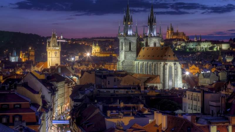prague city evening lights czech republic