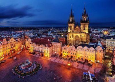 Saint Vitus Cathedral night lights in Prague