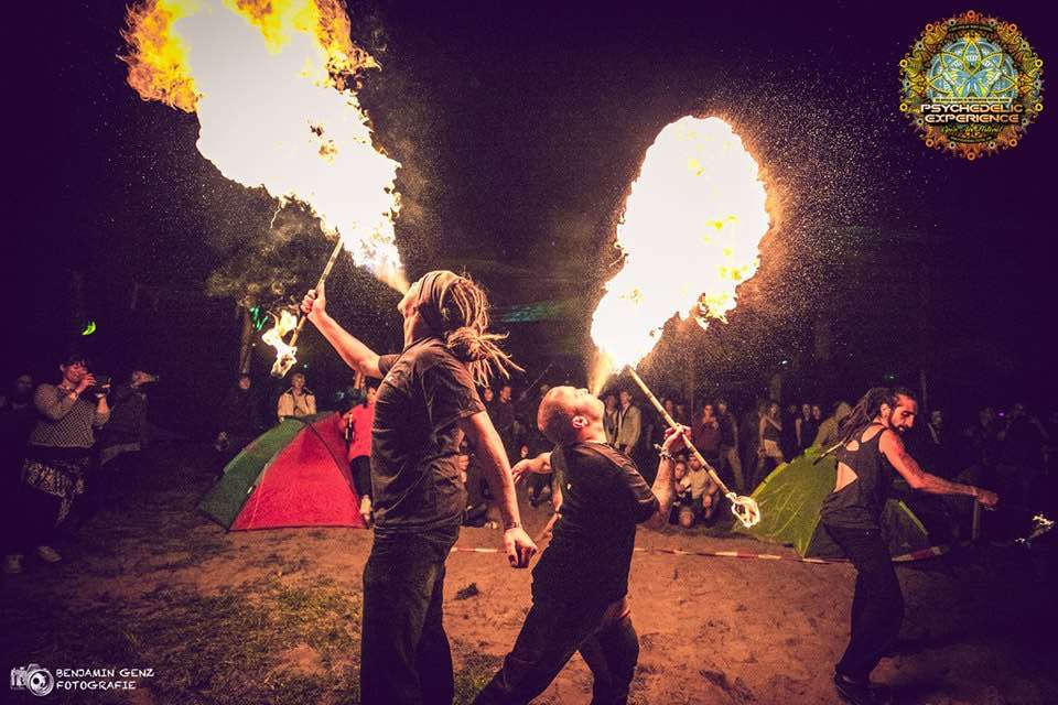 Fire artists at Psychedelic Experience Festival