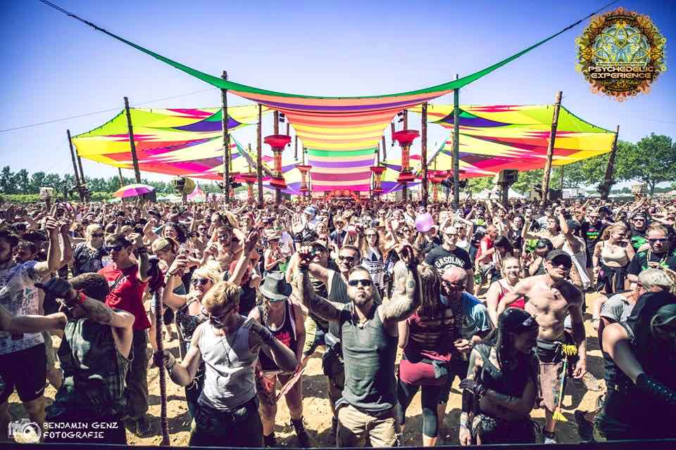 Main stage crowd dancing at Psychedelic Experience Festival