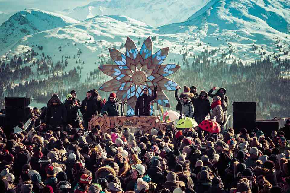 Mountain view stage at Shapes Festival Leysin