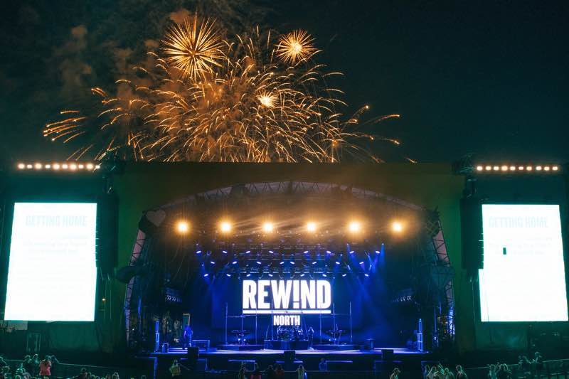 Main stage fireworks at Rewind Festival North