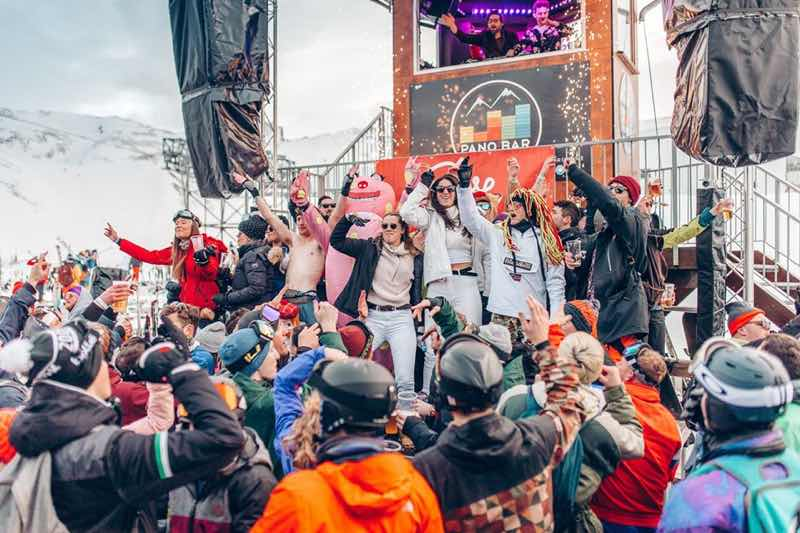 Dancing around snow at Rise Festival