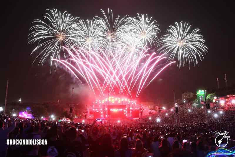 Fireworks at Rock in Rio Lisboa Festival