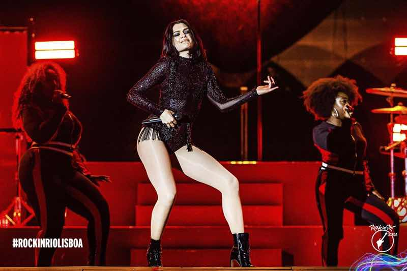Jessie J performing on stage at Rock in Rio Lisboa Festival