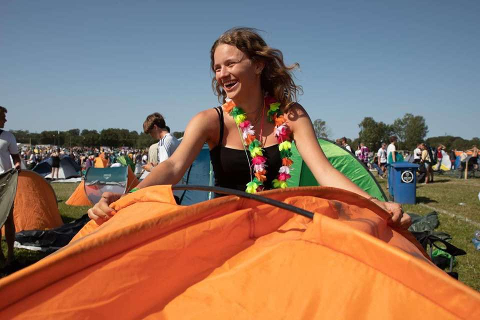 Happy camper at Roskilde Festival