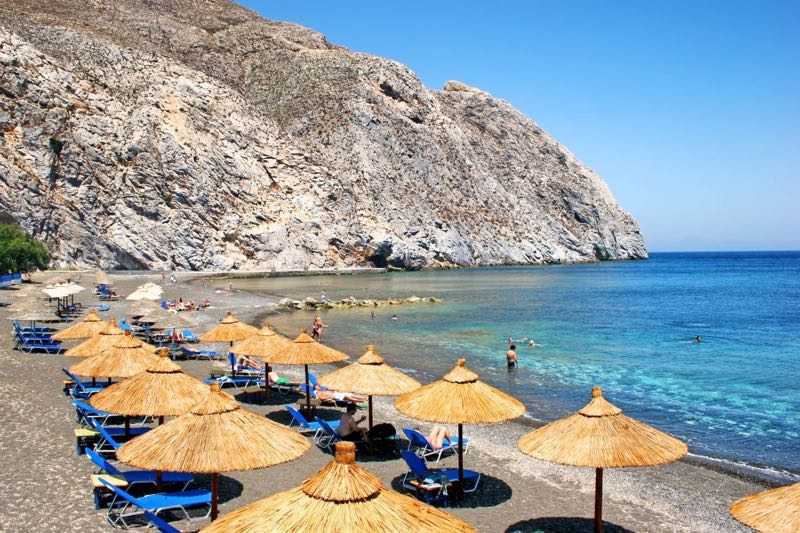 Perissa beach in Santorini Travel Guide