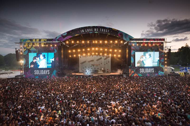 Solidays Festival Main stage view lights fans