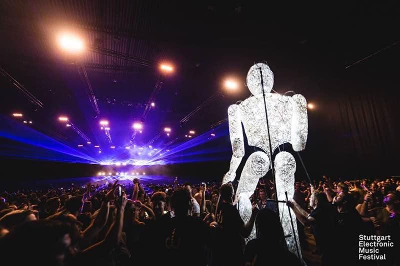 Mascot dancing at Stuttgart Electronic Music Festival