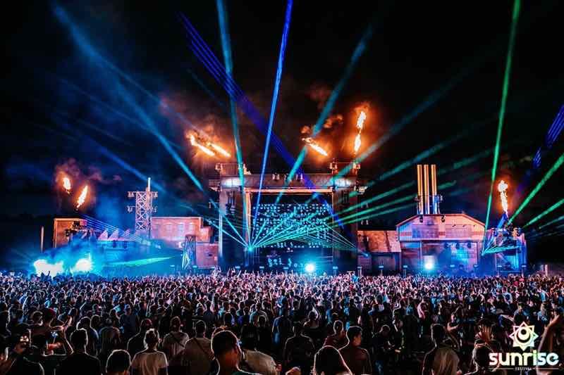 Fireworks lights show at Sunrise Festival Belgium