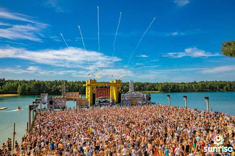 Stage by the lake at Sunrise Festival Belgium