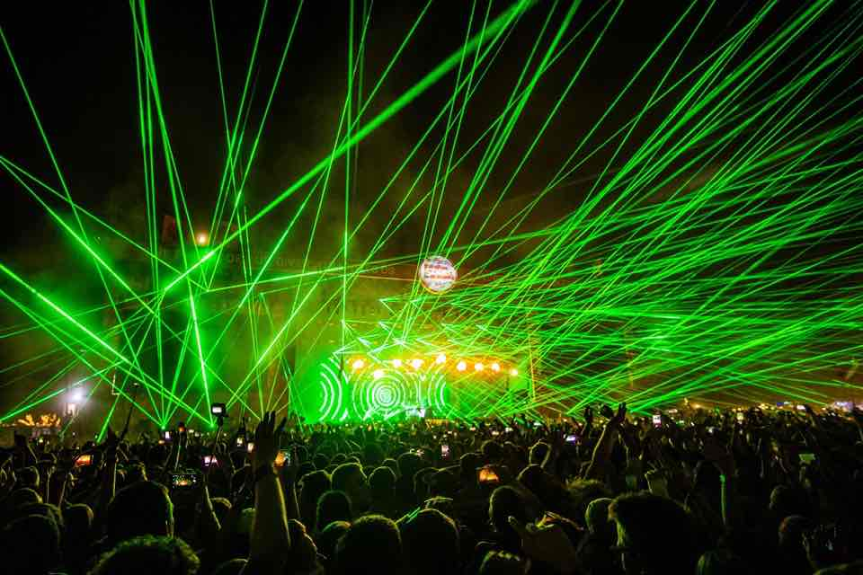 Dancing stage laser show at Sziget Festival