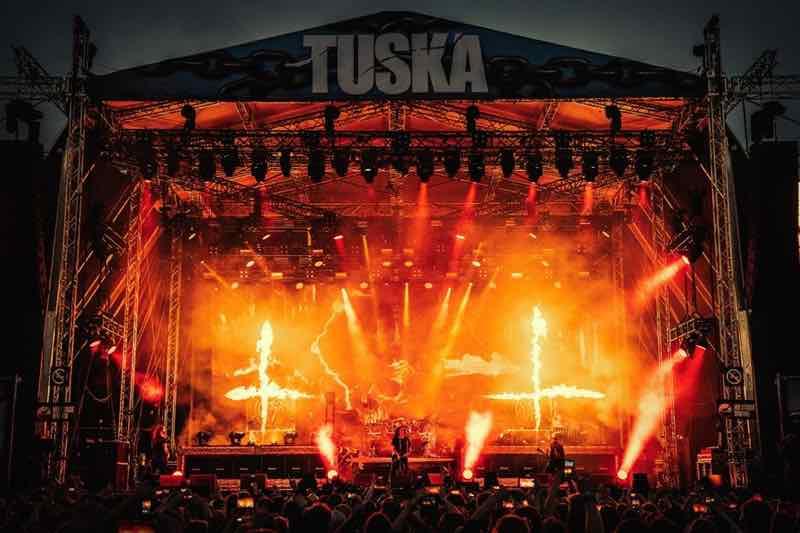 Lights show main stage at Tuska Festival