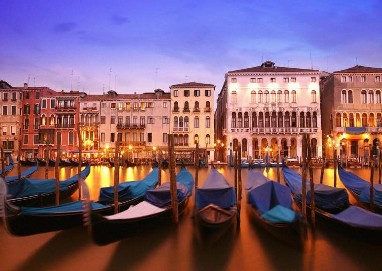 Gondolas Houses in Venice