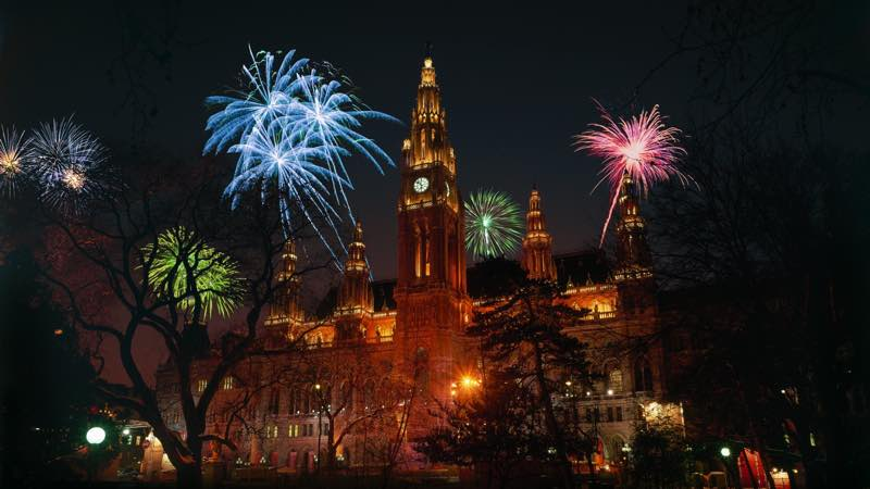 romantic fireworks at st. stefan's cathedral in Vienna Austria