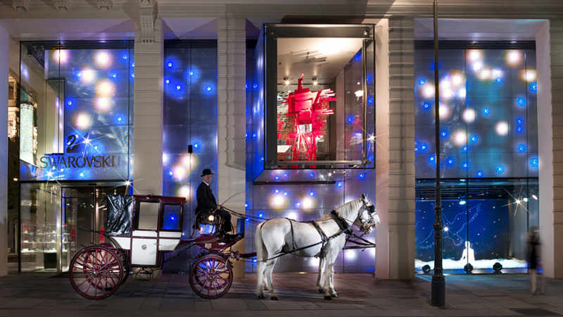 horse carriage outside swarovski shop in Vienna