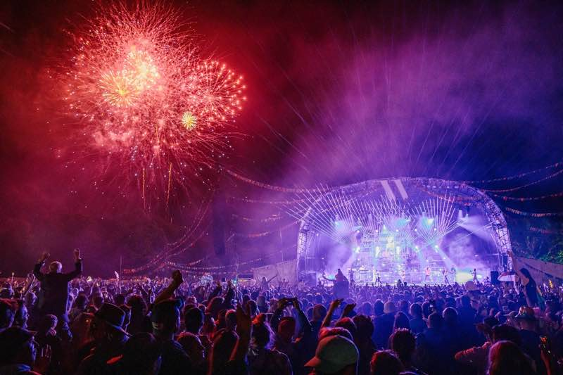 Fireworks at main stage at Wilderness Festival