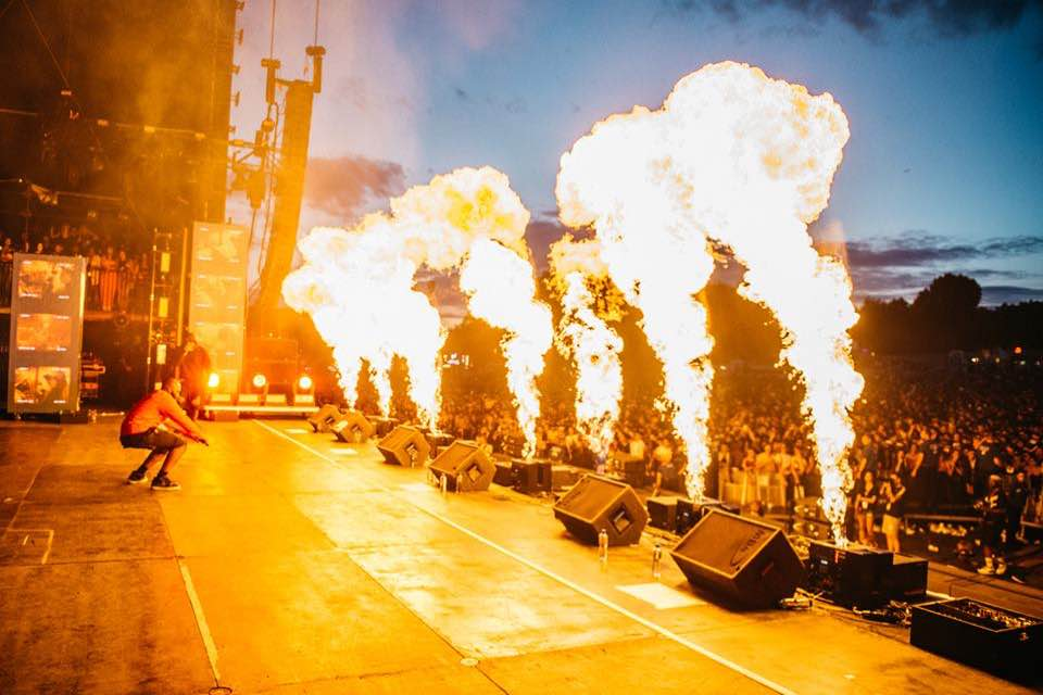Fire show on stage at Wireless Festival