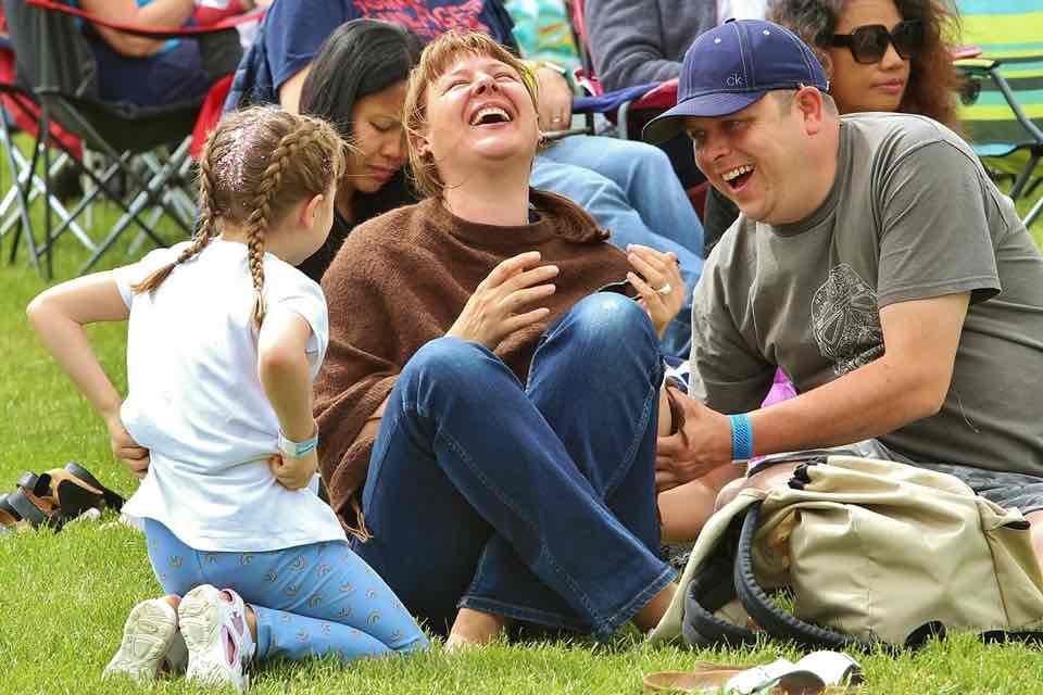 Family enjoying at Wychwood Festival