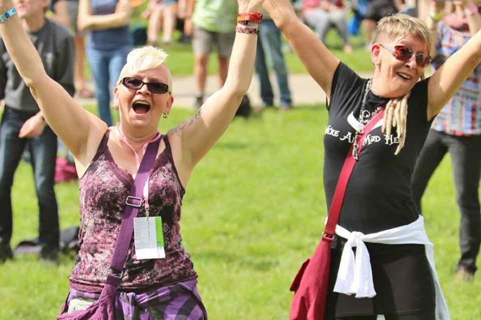 Girls having fun at Wychwood Festival